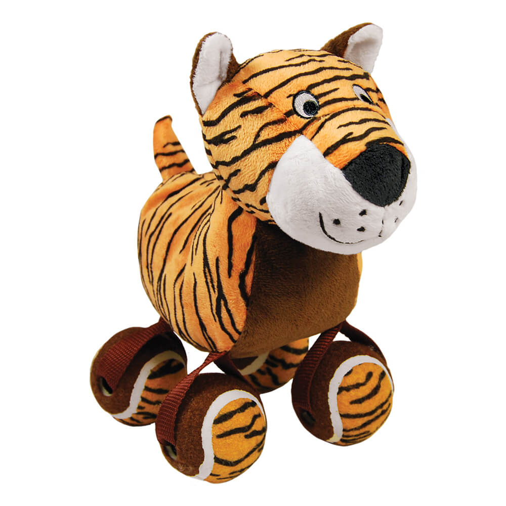 KONG TenniShoes Tennis Ball Tiger Plush Toy