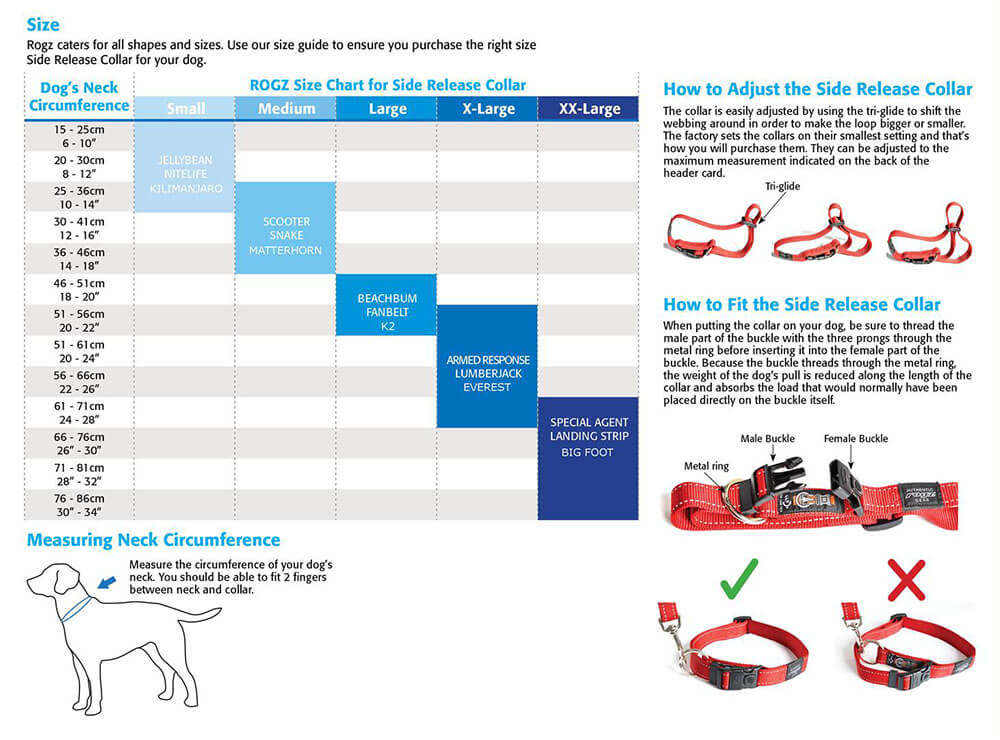 Rogz Utility Nitelife Dog Collar Sizing Guide